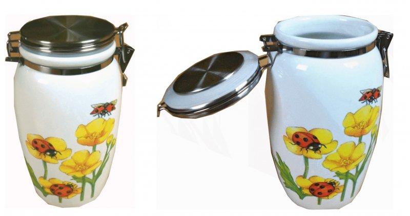 Blumen Keramik Vorratsdose Butterblumen und Marienkäfer