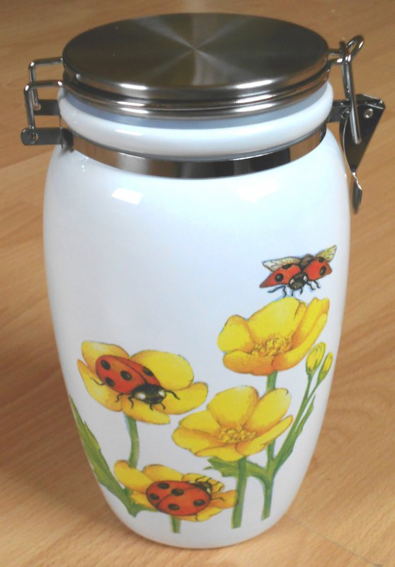 floral ceramic hoard box buttercup with beetle
