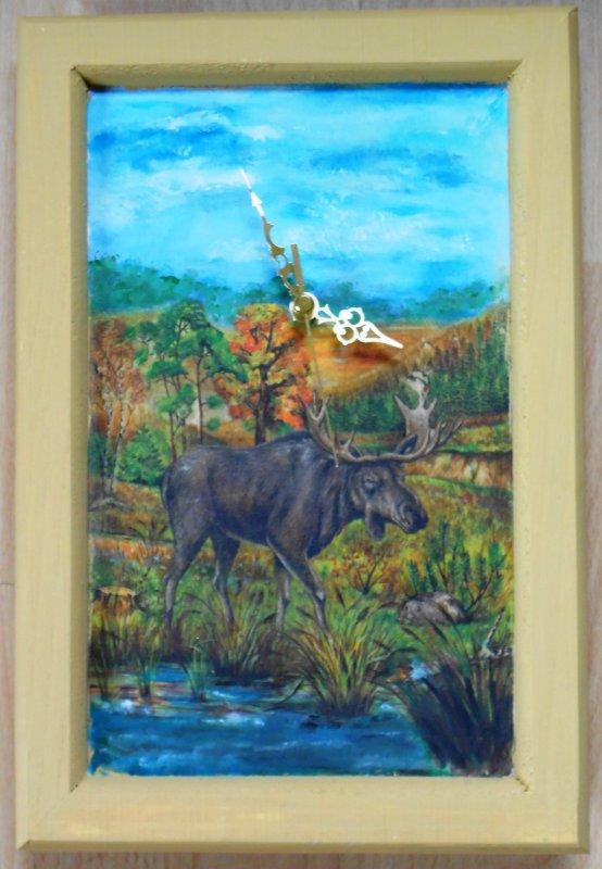 nice wall clock swedish ladscape with moose