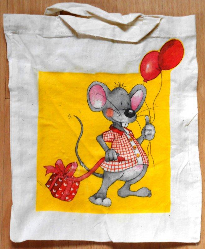 Baumwolltasche Maus mit Luftballons