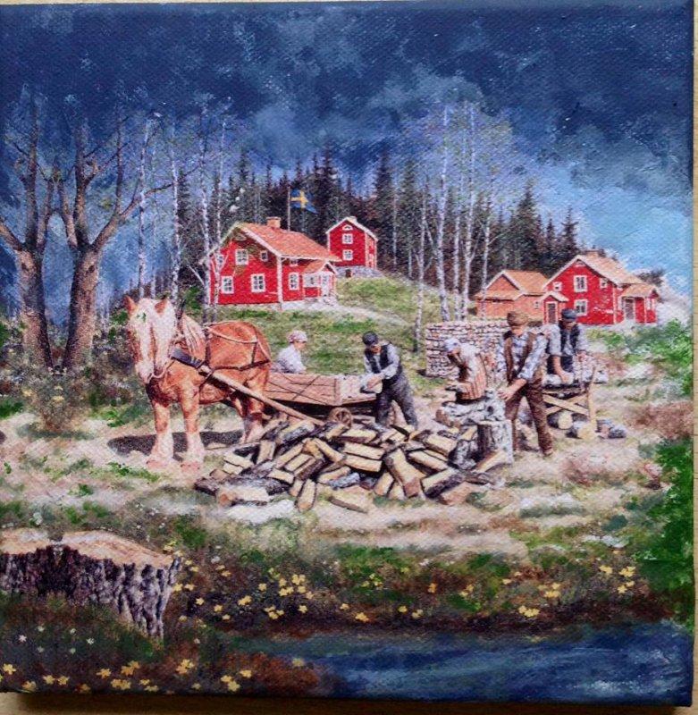 Schweden Keilrahmenbild Holzfäller bei der Arbeit