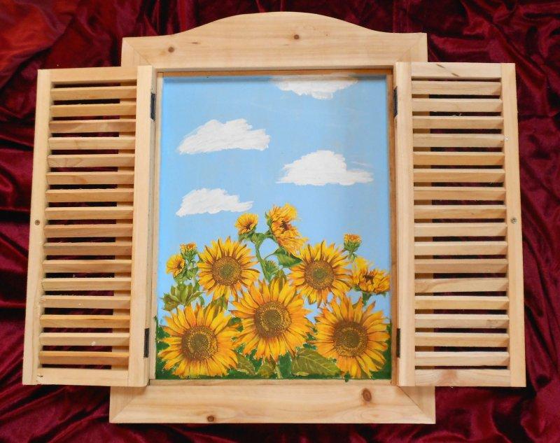window shutter picture sunflowers