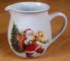 wunderschöne Porzellan Kanne Weihnachtsmann mit Rentier