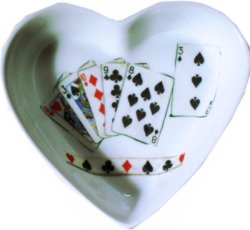 originelle Herz Porzellanschale Poker Games