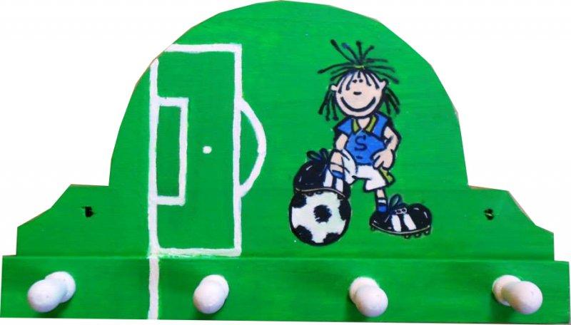 origineller sportlicher Handtuchhalter kleiner Fussballspieler