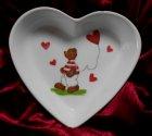 cute heart porcellain dish bear with heart
