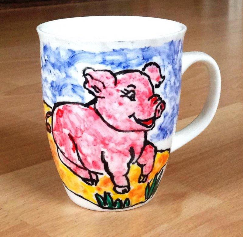 lustiger Porzellan Kaffeebecher niedliches Schwein