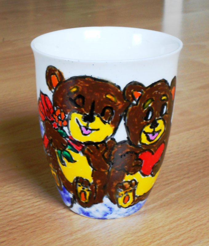 funny cup with bears in love