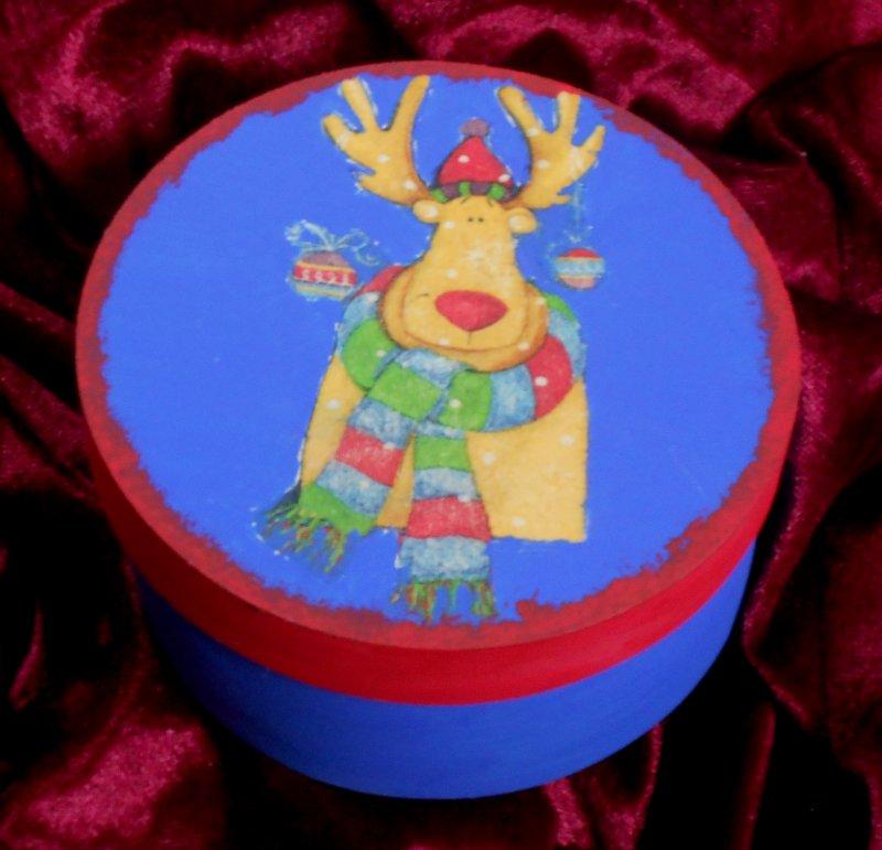 weihnachtliche Geschenkdose lustiger Elch