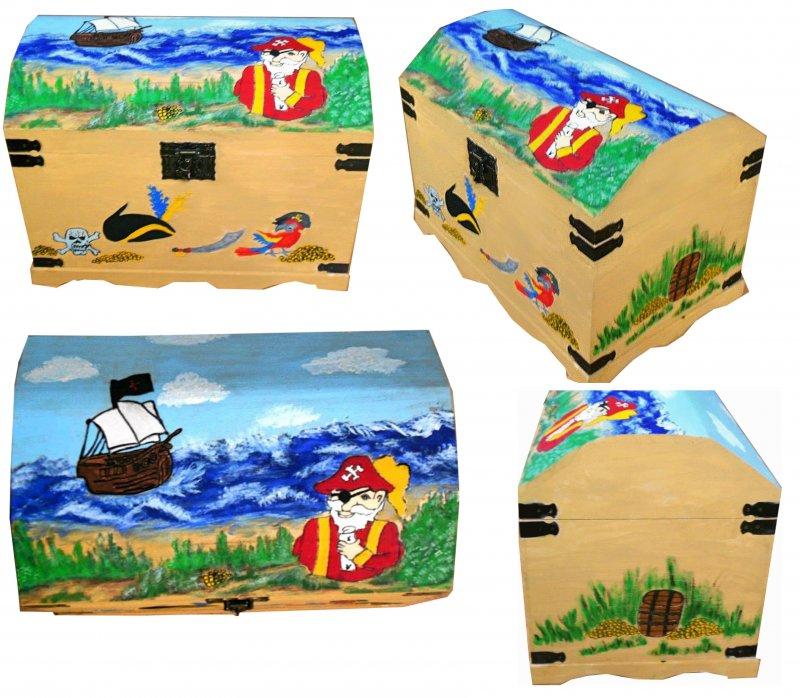 Spielzeugtruhe - Holztruhe Pirat mit verstecktem Schatz