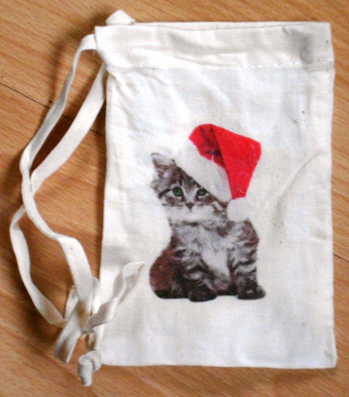 Geschenksaeckchen niedliche Katze mit Weihnachtsmütze