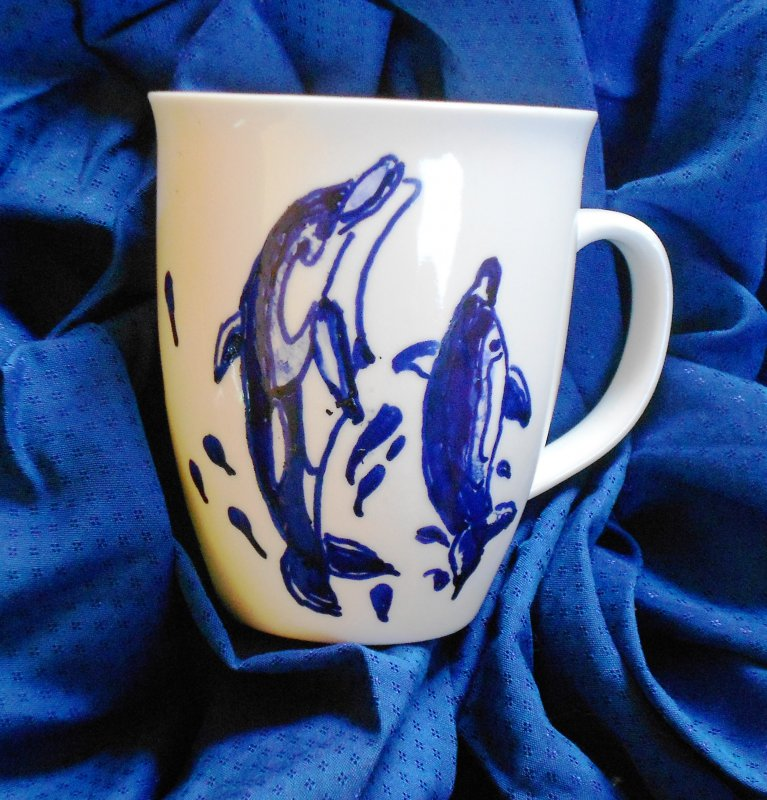 funny cup with dolphins