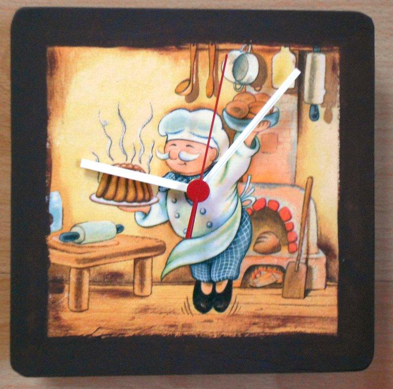 originelle Küchen Wanduhr fröhlicher Koch