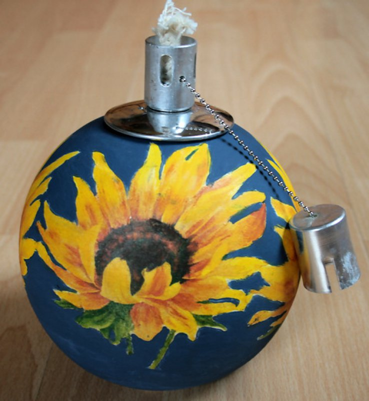 great oil lamp sunflowers
