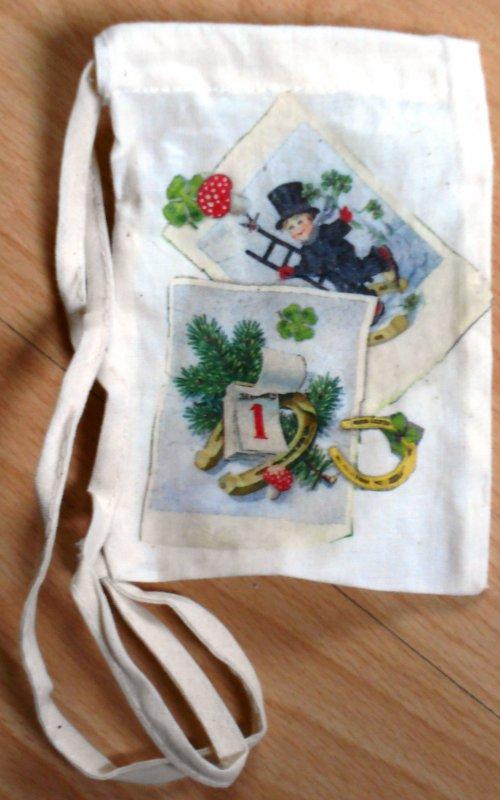 Silvester Geschenksaeckchen Schornsteinfeger und Kleeblatt