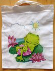 lustige Baumwolltasche urlaubender Frosch auf Seerose