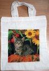 Baumwolltasche hübsche Katze unter Sonnenblume