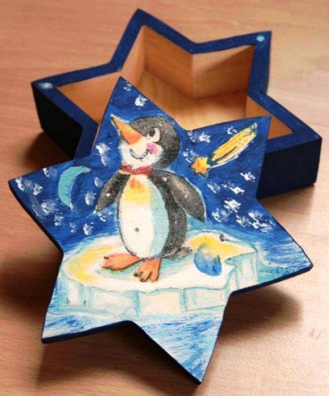 niedliche Weihnachtsdeko- Stern Geschenkbox Pinguin