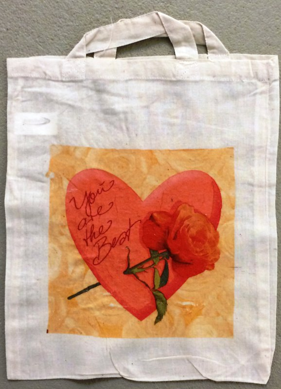 romantische Baumwolltasche Rose auf Herz
