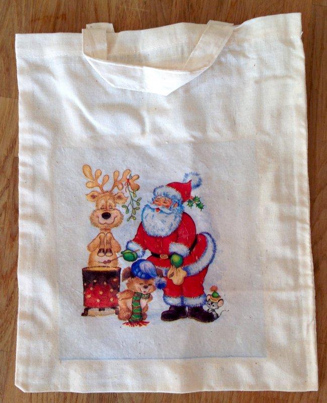 Weihnachtstasche Elch und musizierender Weihnachtsmann