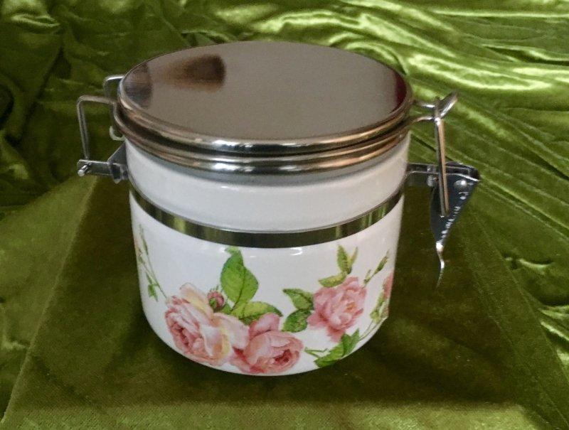 kleine Keramik Vorratsdose rosa Rosen