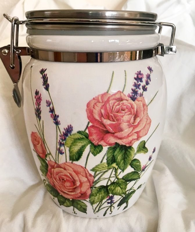 Keramik Vorratsdose Rosen und Lavendel