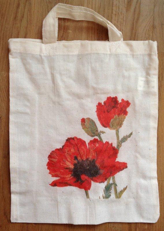Blumen Baumwolltasche rote Mohnblumen