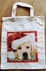 niedliche Hunde Weihnachtstasche weißer Hund mit Weihnachtsmütze