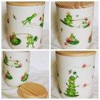 Kleine Keramik Vorratsdose lustige Frösche